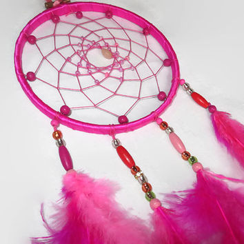 Pink Dreamcatcher. FREE SHIPPING. Large Dream Catcher, Bohemian Decor, Feather Wall Art.  Wall Hanging Dreamcather