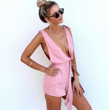 Sexy deep v-neck conjoined pink shorts