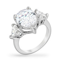 Delilah Pear Cut Three Stone Engagement Ring | 7.5ct | Cubic Zirconia