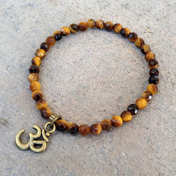 Prosperity, Fine Faceted Tiger's Eye Gemstone Bracelet