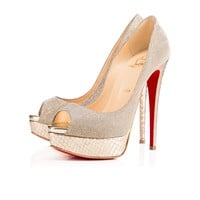 Lady Peep 150 Version Light Gold Glittex - Women Shoes - Christian Louboutin