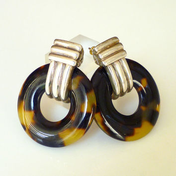 Ralph Lauren Earrings Tortoise Shell Lucite Sterling Silver Door Knocker Fashion Jewelry