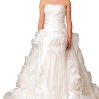 Dearta Women's A-Line/Princess Wedding Dresses With Ruffle/Draped/Cascading Ruffles