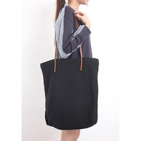 Leather Strap Knit Fabric Tote Bag