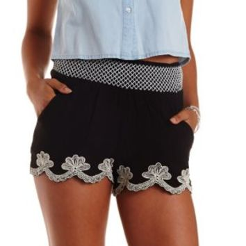 Black Embroidered & Scalloped High-Waisted Shorts by Charlotte Russe