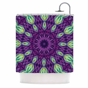 "Sylvia Cook ""Zapped - Purple"" Purple Green Shower Curtain"