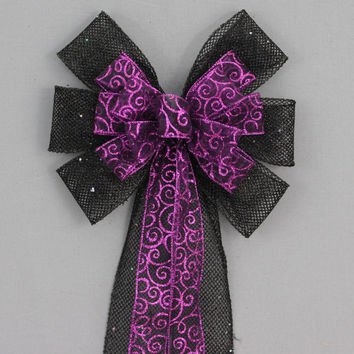 Purple Swirl Black Mesh - Halloween Wreath Bow, Halloween Decorations, Party Decorations, Wedding Pew Bows, Gothic Wedding