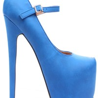 BLUE FAUX SUEDE MARY JANE ULTRA HIGH PLATFORM PUMPS