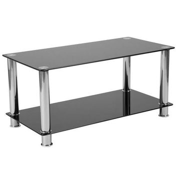 ICIKION Riverside Collection Coffee Table with Shelves and Metal Frame