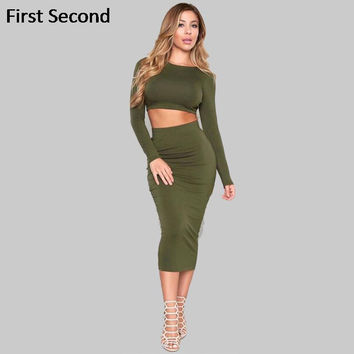 2016 Women Party Bodycon Dresses Winter 2 Piece Sets Long Sleeve Sexy Backless Two Piece Bandage Dress Cotton Two Piece Outfits