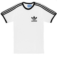 Adidas California Tee Mens AJ8833 White Black Cotton Slim Fit T-Shirt Size M