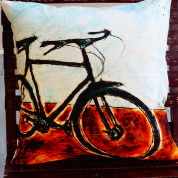"""Digital Print Cushion, Cycle Printed Pillow Case, Decorative Sham, Indian Printed Bench Cushion, Size : 16"""" X 16"""" Inches, Room Decor"""