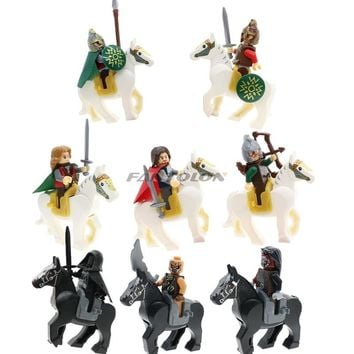 Hobbit Lord Of The Rings Knight White/Black Horse Building Block Diy Figures Ringwraiths Aragorn Kids Toys Hobbies