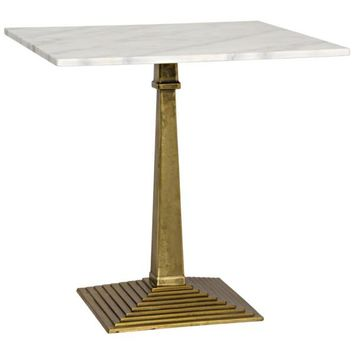 Birch Side Table, Antique Brass, Cast Iron and Quartz