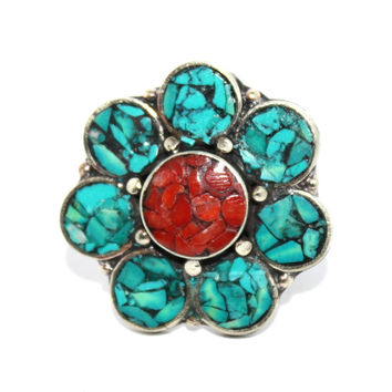 Flower coral turquoise ring