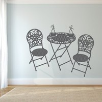Wall Decor Vinyl Sticker Room Decal Chair Table Furniture Coffee Kitchen Lunch Café Tea Ornament Tracery Paris France Italy (S159)