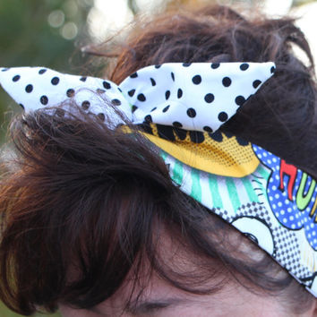 Reversible Dolly Bow Wire Headband Blue Comic Words and Doodles over Polka Dots Rockabilly Pin Up Hair Accessory for Teens Women Girls