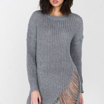 Knit Sweater Dress in Grey And Black