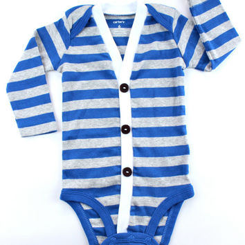 Blue Preppy Baby Boy Cardi - Only NB & 24 Month - Perfect for a Fall or Winter Baby Shower Gift