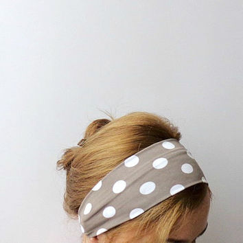 polka dot headband tan white workout headband wide sport head wrap hair band beach retro pin up beige exercise headband jersey stretch