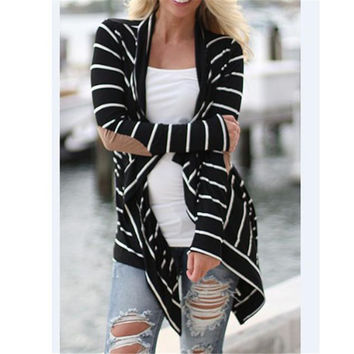 The most Women Casual Long Sleeve Striped Cardigans Patchwork Outwear