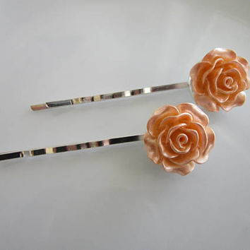 Pastel Pink Rose Bobby Pins - Pastel Pink Wedding Hair Clip - Bridal Hair Clips - Large Pastel Pink Rose Flower Bobby Pins - Roses for Hair