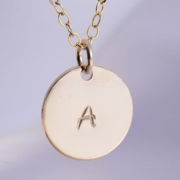 Gold disc necklace, Initial necklace - Gold filled initial disc necklace, Gift for her, 14K gold filled