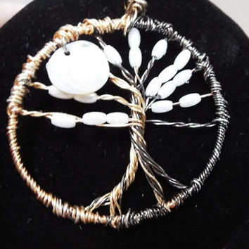 Tree of Life Pendant, Wire Wrapped Pearl / Moon Tree Pendant / Charm