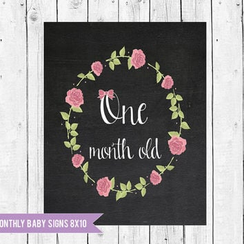 Hippie Baby Milestone cards, Baby Monthly Chalkboard Photo Prop 8x10, Baby's First Year Monthly Photo Prop, Instant Download JPEG Printable