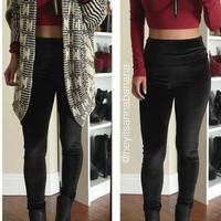 Velvet High-Waisted Leggings - Black- FINAL SALE