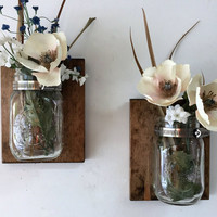 Mason jar vase set of 2, mason jar sconce, wall mason jar, bathroom mason jar, hanging mason jar, mason jar planter, bathroom storage shabby