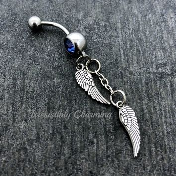 Angel wings 14 gauge stainless steel belly button navel rings, body jewelry, 14g