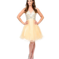 Champagne Illusion Rhinestone Embroidered Tulle Short Dress Prom 2015