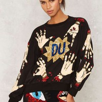 DI$COUNT UNIVER$E Hands Off Sequin Sweatshirt