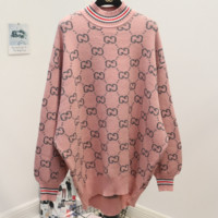 GUCCI 2018 new autumn and winter wear double g letter knit long round neck sweater pink