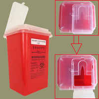 2016 Newest Red Tattoo Medical Plastic Sharps Container Biohazard Needle Disposal 1 Qt Size For Tattoo Artists Free shipping