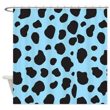 Blue Cow Shower Curtain> Animal Print, Cow Spots> Strawberry and Hearts
