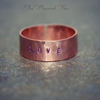 Purple Love Stamped Ring - Inspirational Ring