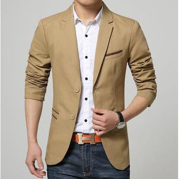 Contrast Trim Two Button Blazer