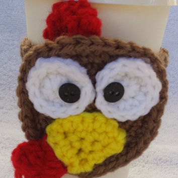 Turkey Coffee Cup Cozy w/Cup - turkey cup - thanksgiving cozy - crochet turkey - crochet cozy