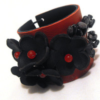 Elegant red and black leather bracelet with flowers by julishland