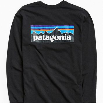 Patagonia P6 Logo Long Sleeve Tee   Urban Outfitters