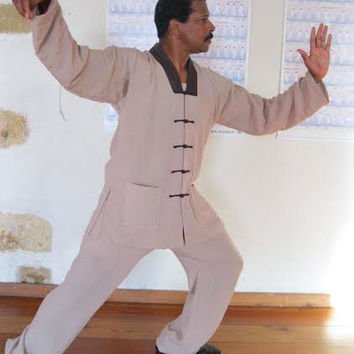 Beige V-Collar Tai Chi Uniform with Outerlines