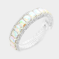 """silver ab crystal coil bracelet bridal prom pageant .75"""" wide"""