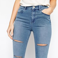 ASOS Ridley High Waist Jeans in Peace Lightwash with Jasmine Thigh and Knee Rips