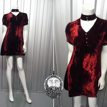 Vintage 60s 70s Crushed Velvet Wine Red Mod Mini Dress Gothic Choker Dress Micro Shift Dress Burgundy Velvet Short Sleeve Dollybird 1970s