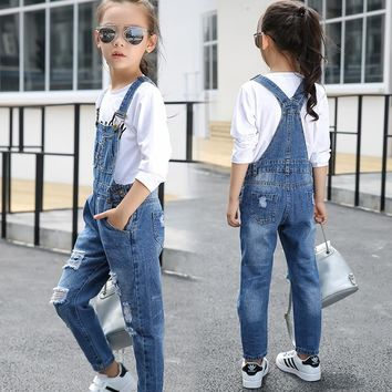 Denim Girls Overalls Baby Hole Jeans Girls Loose Fit Bib Pants Infant Jumpsuit Kids Overalls Child Clothing Children Overalls