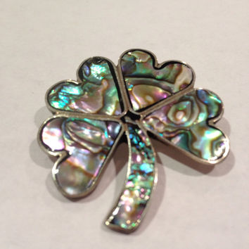 Alpaca Abalone Pin Brooch Shamrock Clover Heart Vintage Silver MOP Shell Stone Signed Gift Girl Pink Blue Pearl Irish Mexican Mexico Jewelry