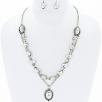 Pearl Interchangeable Jewelry Set in Silver
