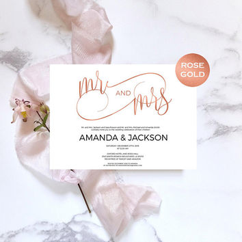 Rose gold wedding invitation template. Downloadable wedding invitation with modern calligraphy. Wedding invite pdf rose gold foil #WDH302_21